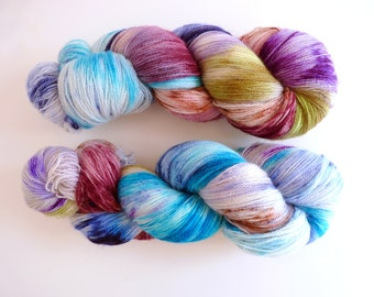"Lace BFL yarn hand dyed  - Superwash Bluefaced Leicester wool, Tea Time base - Colourway ""Riders on the storm"""