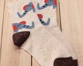 Cozy Elephant Wool Socks in Cream