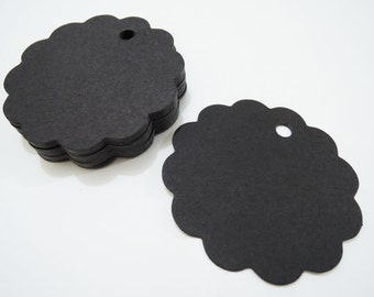 Black Paper Tags - 50pcs Black Tags Scalloped Circle Round Tag Price Tags Hang Tags Gift Tags Black Tag Plain Tags with Hole 6cm x 6cm