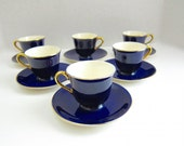 Vintage Steubenville Mid Century Dishes Vintage Dishes Cobalt Blue Tea Cup Espresso Cups Holiday Dishes Gold Trim Coffee Cup Made In USA AU2