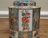 Daher Blue Gold Orange Floral Lidded Tin Container