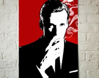 Mad Men Don Draper fan art illustration, Pop Art style celebrity portrait, Mad Men Print, Mad Men Poster, Mid Century Mordern Decor