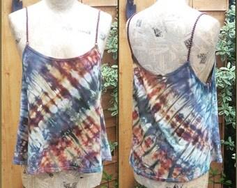 Tie Dye Camisole Summer Vest Top, Spaghetti Strap, Medium