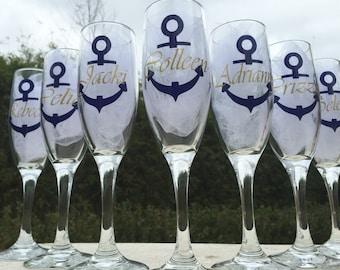 Set of 7, Nautical champagne glasses, personalized champagne flutes, nautical wedding