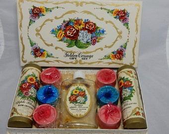 1950s LANDER Apple Blossom Vanity Bath Gift Set in Original Box