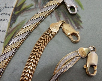 3 Italian Sterling Silver Vermeil Serpentine Bracelets 925