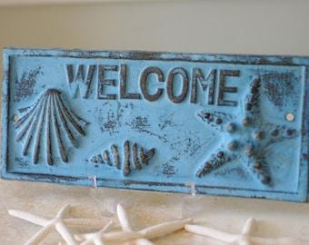 Beach Welcome Sign - Seashells Starfish - Coastal Decor - Cast Iron Wall Decor