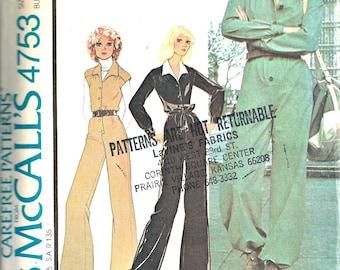 1970's McCall's Pattern 4753 Women's Jumpsuit Size 8