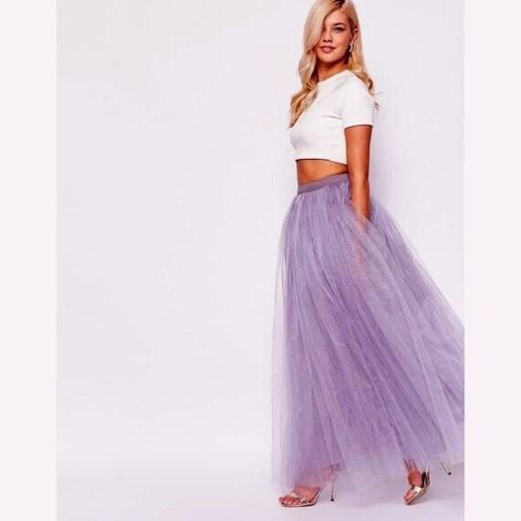lavender tulle tutu skirt maxi skirt by