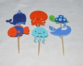 12 READY TO SHiP Under the Sea Cupcake Toppers Octopus Shark Turtle Whale Up to 2 Sets with SAME SHiPPING Sea Creature Birthday Cake Decor