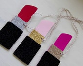 Favor Tags, Lipstick Shaped Layered Gift Tags, Luggage Tags Set of 12