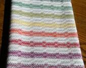 Hand Woven Guest Towel, Loomed Cotlin Towel, Handwoven Kitchen Towel, Woven Dish Towel, Woven Tea Towel, Hand Woven Towel, Rainbow Stripes