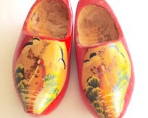Miniature Red Wooden Shoes Holland