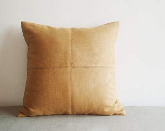 Camel Color Suede Pillow with Stitch Detail , Decorative Pillow , Suede Leather Throw Pillow , Suede Cushion Cover