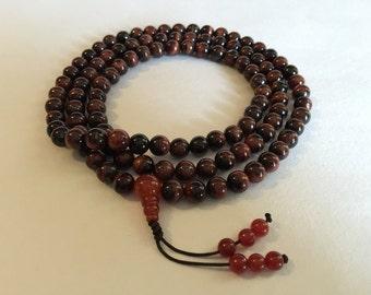 ibetan Mala Rare Red Tiger Eye Mala 108 Beads for Meditation