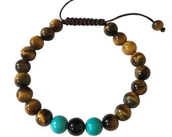 Tibetan mala Tiger Eye Turquoise and Onyx Wrist mala yoga bracelet for meditation