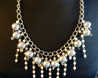 Silver vintage costume assemblage necklace