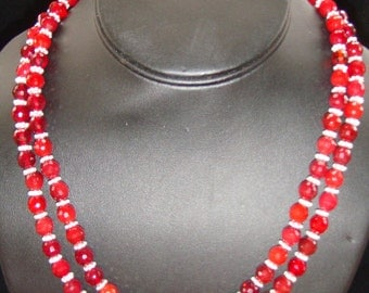 Red Quartz and Sterling Silver Double Strand Necklace