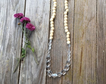 Light wood & clear glass long beaded necklace | hand strung | free gift wrapping