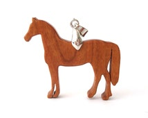 Horse Necklace Wood Thoroughbred Cherry Hand Cut Pendant Scroll Saw