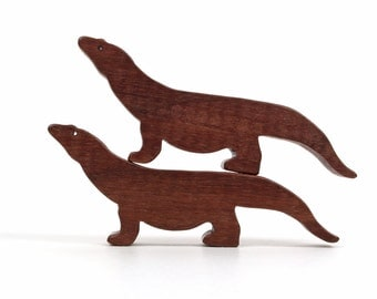 Komodo Dragon Wooden Toy Asian Animals Miniature Figures Wood Noah's Ark Zoo Play Set