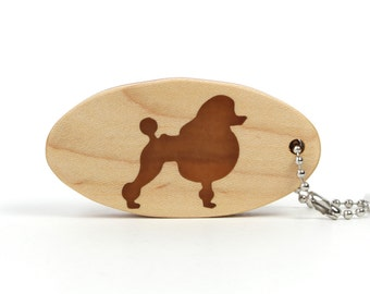 Poodle Key Ring Wood Dog Breed Key Chain Pet Key Fob Wood Show Dog Key Chain Dog Accessories Wood Scroll Saw Key Ring Cherry