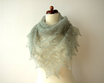 lace shawl, handknit mohair triangle scarf, pale olive green, light and delicate