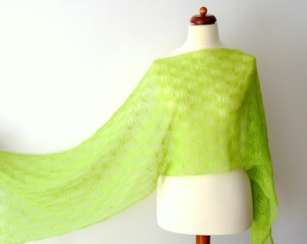 bright green lace shawl, fine wool scarf, handknitted
