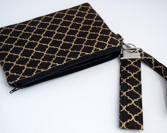 Black Wristlet Clutch, Datenight Handbag, Cellphone Purse, Key Fob Wristlet, Handmade, Zookaboo, Ready to Ship