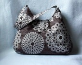 Brown and White Hobo Bag - Floral Slouch Purse