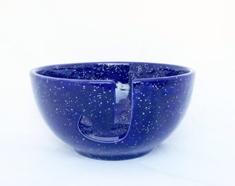 Yarn Bowl - Blue and White Speckled - Ceramic Hand Painted Pottery Yarn Bowl