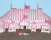 HO Scale Circus Big Top Tent Set - Pink Stripe