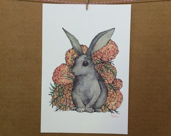 Watercolor/Ink-Animal-Bunny with Marigolds