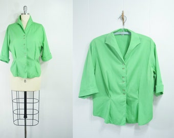 SALE * Vintage 1950s Green Apple Button Front Blouse | 1950s Green Shirt | Tailored Green Top