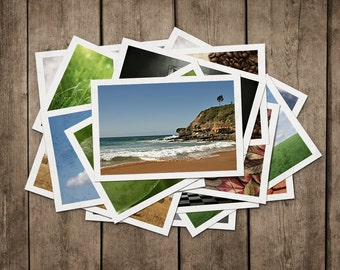 POSTCARDS Set of 4 Beach Solitude, Australian Postcard Set, Beach, Australian Cork Hat, Rocks, Ocean, Trees, Waves, Sand, Book on the Sand