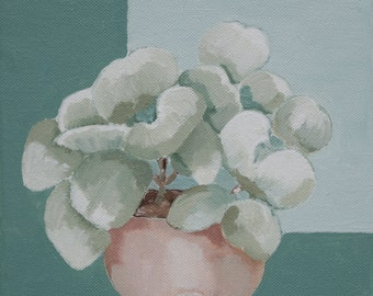 Still life of a succulent plant, original oil painting