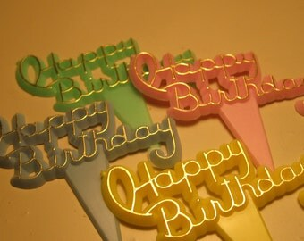 12 Vintage Plastic Happy Birthday Picks and Embellishments