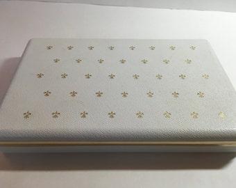 Vintage White Jewelry Box Gold Fleur de Lis Design Turquoise Lined