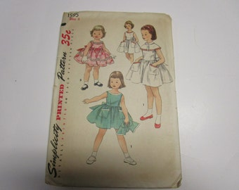 Simplicity Printed Pattern 1595, Size 4 UNCUT, 1950s, Childs dress and capelet.