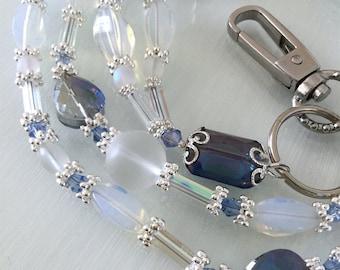 Milky Blue Teardrop Glass and Crystal Lanyard