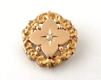 French 'FIX' antique 18k gold fill brooch with seed pearl