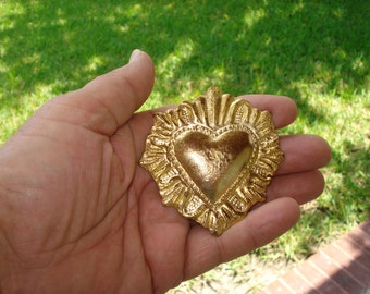 Large Sacred Flaming Heart Charm Milagros Art Deco Ex voto Nicho Style GoldTone