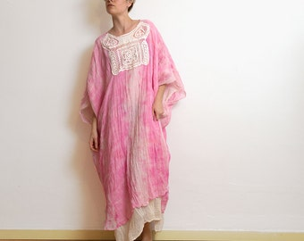Cotton caftan, maxi loose dress, caftan dress with lace appliqué , abaya, pink oversize dress, tie dye summer gown, unique pice loose dress.