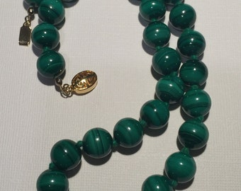 Vintage Malachite Knotted Bead Necklace