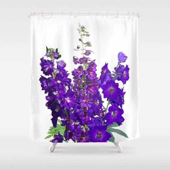 delphinium shower curtain blue purple flower garden floral. Black Bedroom Furniture Sets. Home Design Ideas