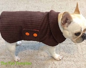 French Bulldog Frenchie Reversible Brown Corderoy Coat