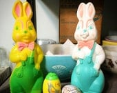 Vintage Blow Mold Easter Rabbit Decor
