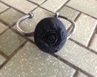 Cameo cuff bracelet // Rose Cameo Bracelet // Cameo Bracelet // Statement Bracelet // Cameo // Black Rose Cameo // Cameo Jewelry