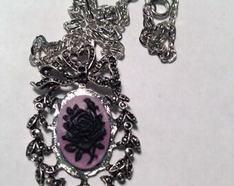 Purple Rose cameo necklace