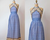 1970s Gauze Dress / 70s Floral Maxi Dress Indian Block Print